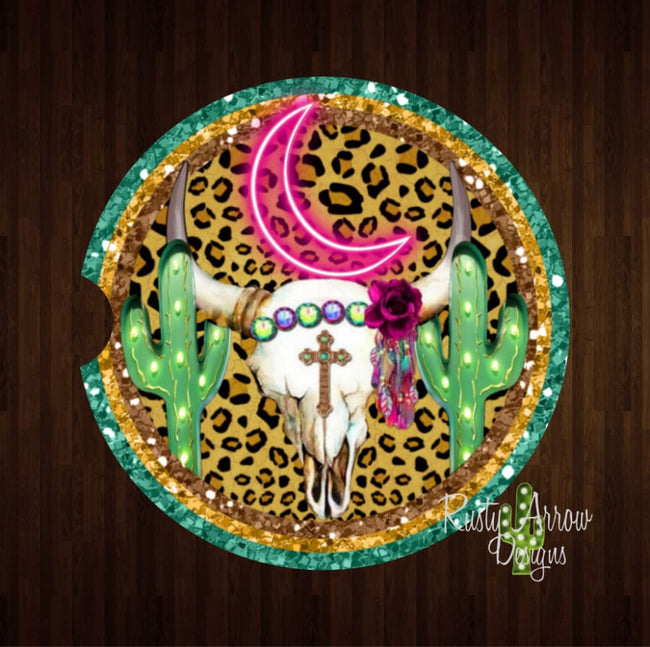 Cheetah Cactus Bull Skull Set of 2 Car Coasters - Car Coasters