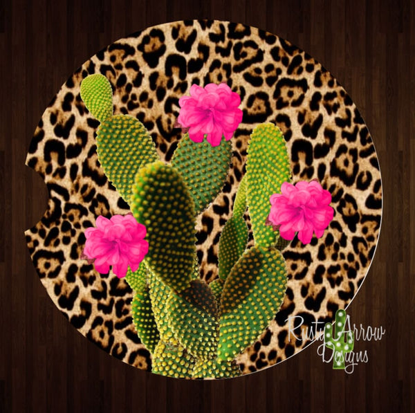 Cheetah Cactus Set of 2 Car Coasters - Car Coasters