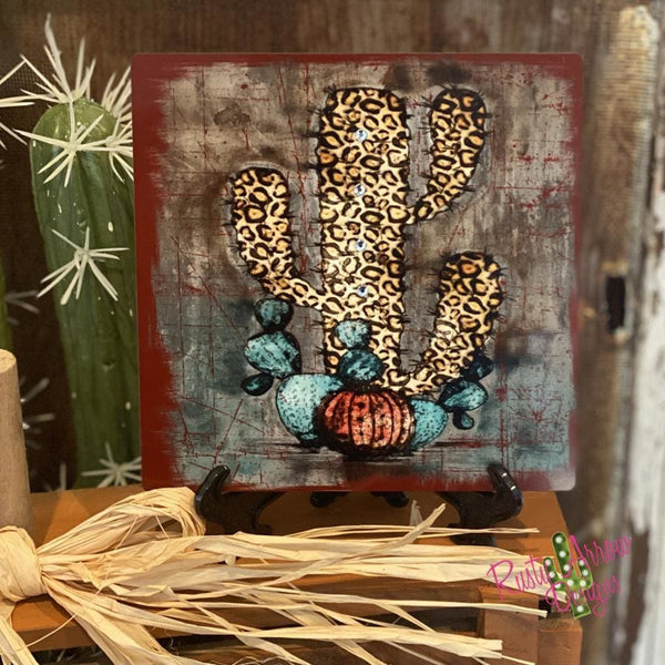 Cheetah Cactus Tiered Tray Sign