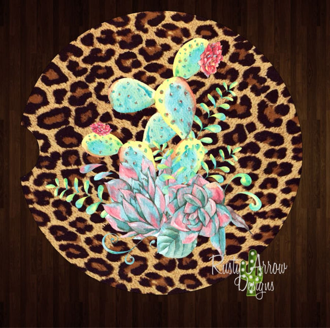 Cheetah Neon Cactus Set of 2 Car Coasters - Car Coasters