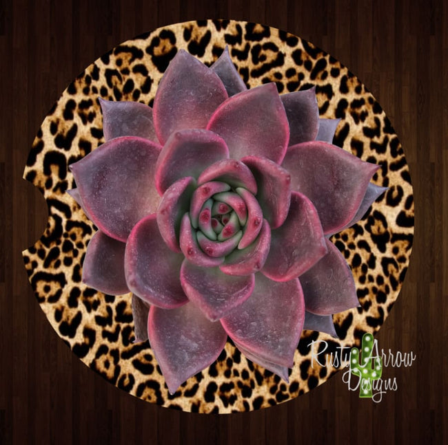 Cheetah Purple Succulent Set of 2 Car Coasters - Car Coasters