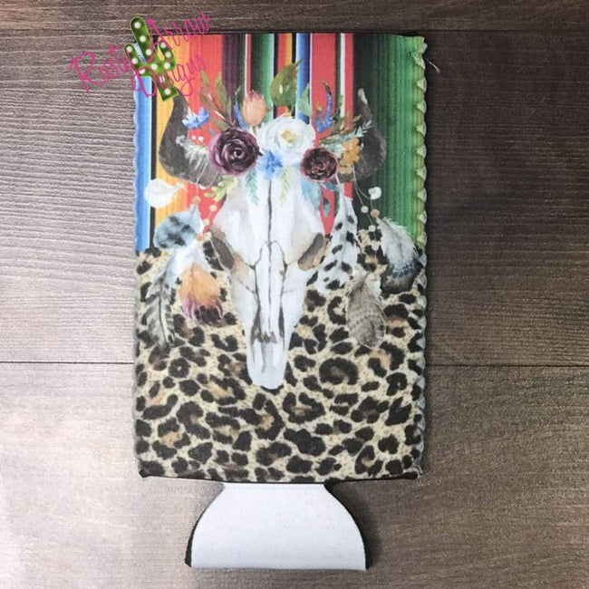 Cheetah Serape Bull Bottle or Can Slim Koozie - Koozie