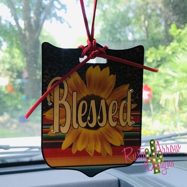 Cheetah Serape Sunflower Blessed Rear View Mirror Charm Bag Tag or Christmas Ornament