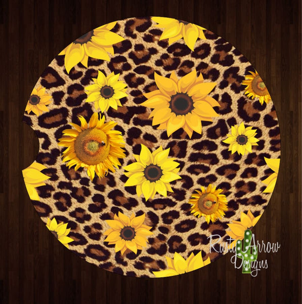 Cheetah Sunflowers Set of 2 Car Coasters - Car Coasters