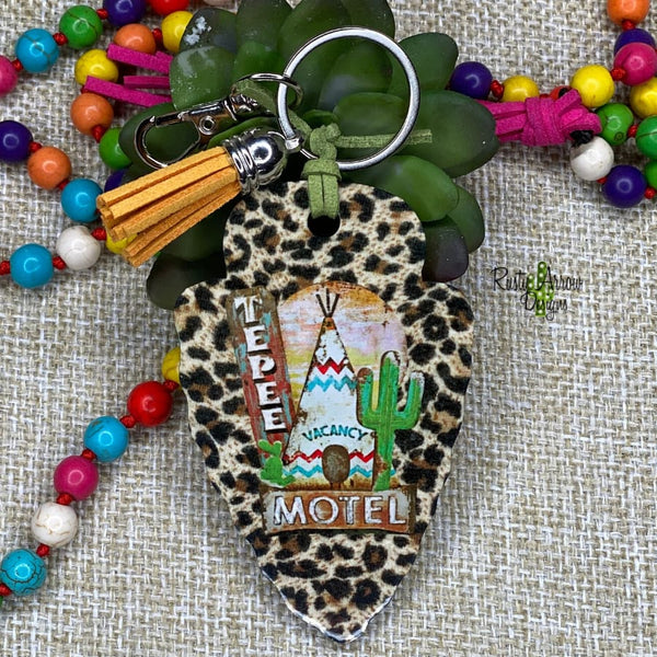 Cheetah Tepee Arrow Head Key Chain - Key Chain