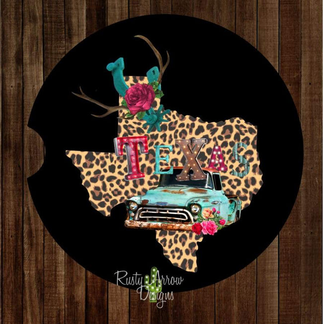 Cheetah Texas with Vintage Truck Set of 2 Car Coasters - Car Coasters