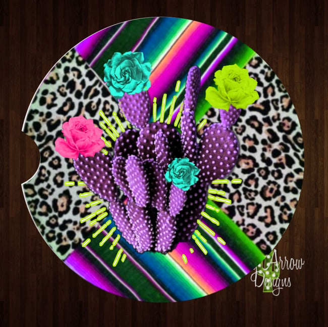 Cheetah with Purple Cactus Set of 2 Car Coasters - Car Coasters