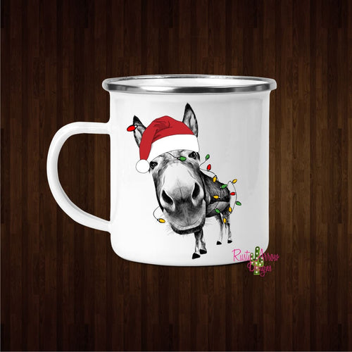 Christmas Santa Donkey 11oz Metal Camp Mug - Mug