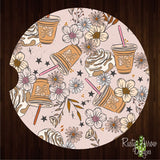 Coffee and Flowers Set of 2 Car Coasters - Car Coasters
