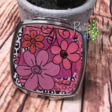 Compact Mirror - Black dots and Pink Flowers - Compact Mirror