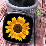 Compact Mirror - Black Sunflower - Compact Mirror