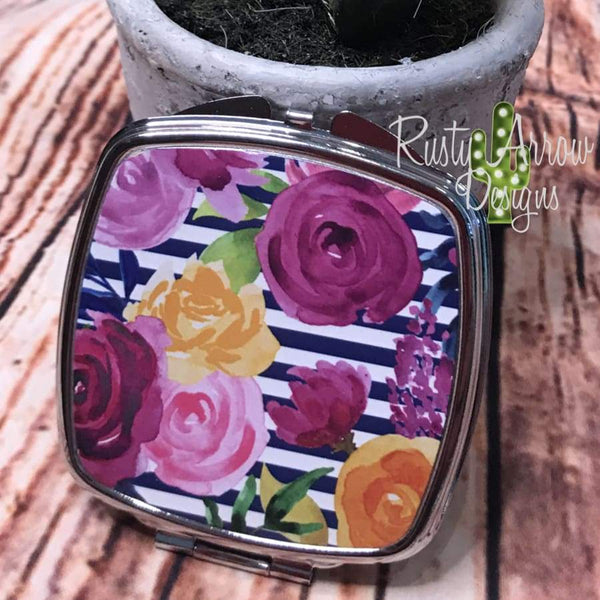 Compact Mirror - Blue and white stripe with pink flowers - Compact Mirror