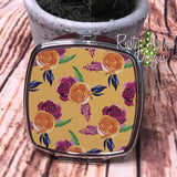 Compact Mirror - Yellow with Pink flowers - Compact Mirror