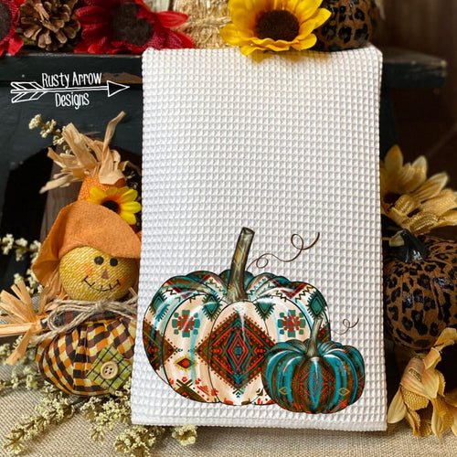 Copy of Turquoise and Red Aztec Pumpkins Waffle Weave Tea Towel