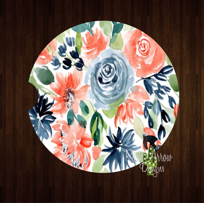 Coral and Blue Boho Floral Set of 2 Car Coasters - Car Coasters