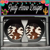 Cow Print Set of 2 Car Coasters - Car Coasters