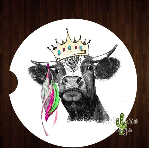 Cow with Crown and Feathers Set of 2 Car Coasters - Car Coasters