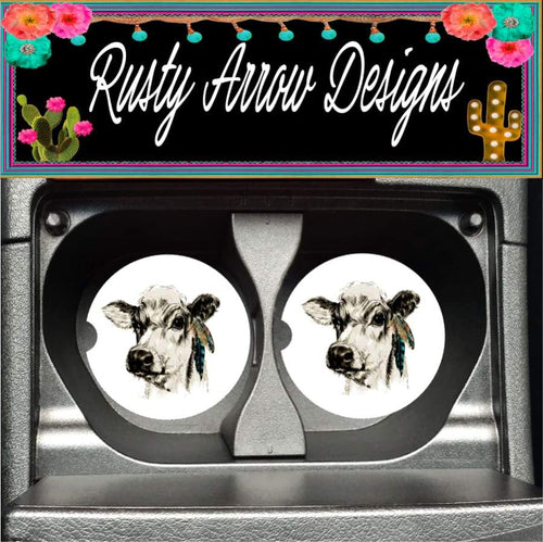 Cow with Feathers Set of 2 Car Coasters - Car Coasters