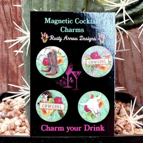 Cowgirl and Roses Magnetic Cocktail Charms