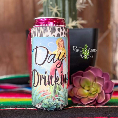 Cowgirl Day Drinkin Can Slim Koozie with Fringe or without - Koozie