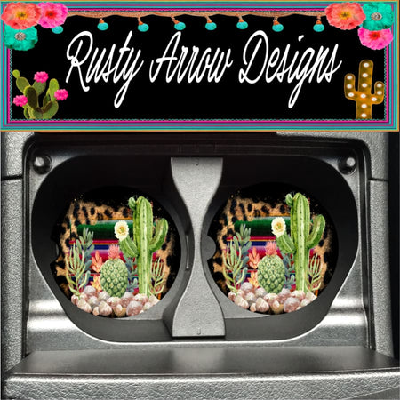 Serape Cheetah Cactus Set of 2 Car Coasters