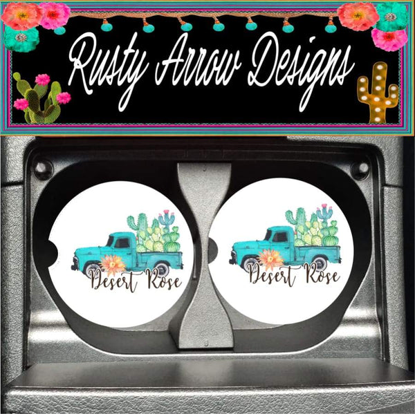 Desert Rose Vintage truck with Cactus Set of 2 Car Coasters - Car Coasters