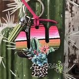 Desert Sunrise Cactus Key Chain