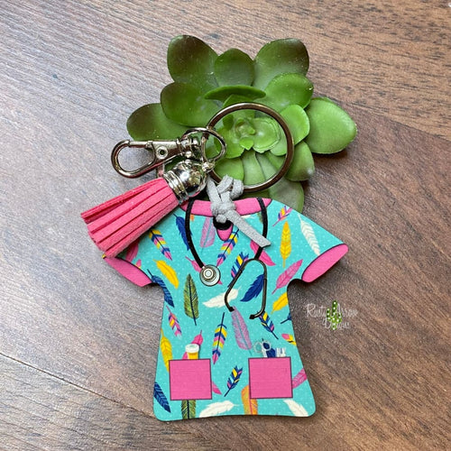 Feather Nurse Scrub Key chain