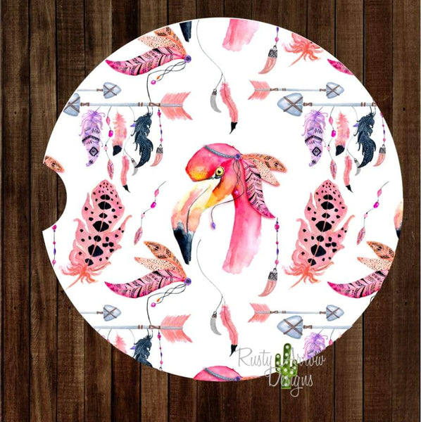 Flamingo with Feathers and Arrows Set of 2 Car Coasters - Car Coasters