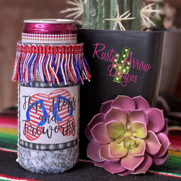 Flip Flops and Fireworks Fringe Bottle or Can Slim Koozie - Koozie