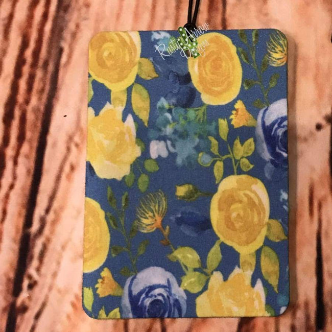 Floral and Stripes Air Freshener and Coaster Set Blue - Air Freshener