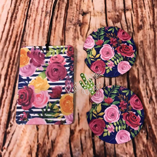 Floral and Stripes Air Freshener and Coaster Set Pink 1 - Air Freshener