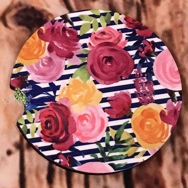 Floral and Stripes Air Freshener and Coaster Set Pink 2 - Air Freshener