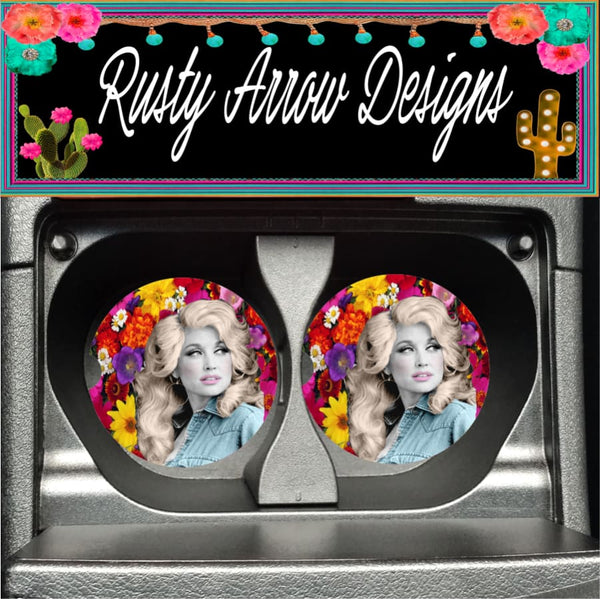Floral Dolly Set of 2 Car Coasters - Car Coasters