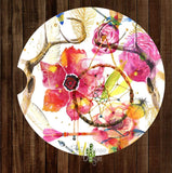 Floral Dream Catcher with Horns Set of 2 Car Coasters - Car Coasters