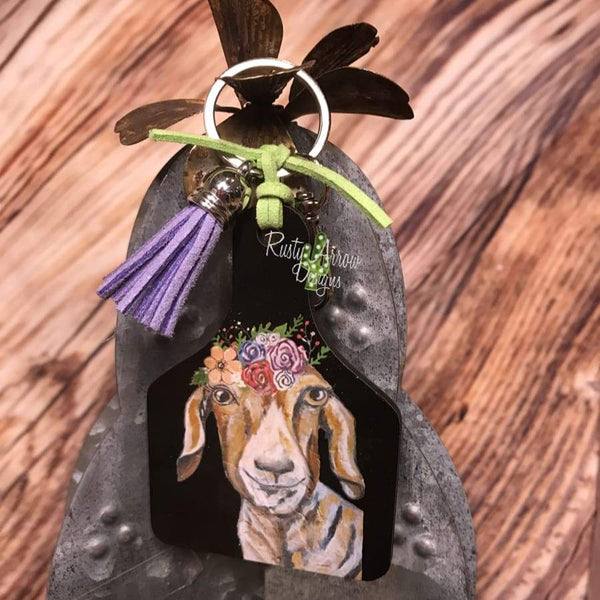 Floral Goat Livestock Ear Tag Key chain