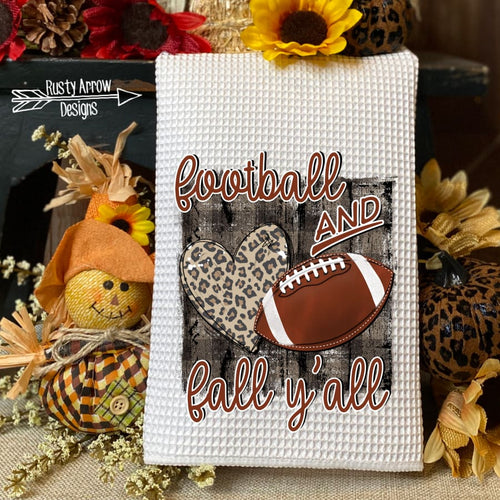 Football and Fall Y'all Waffle Weave Tea Towel