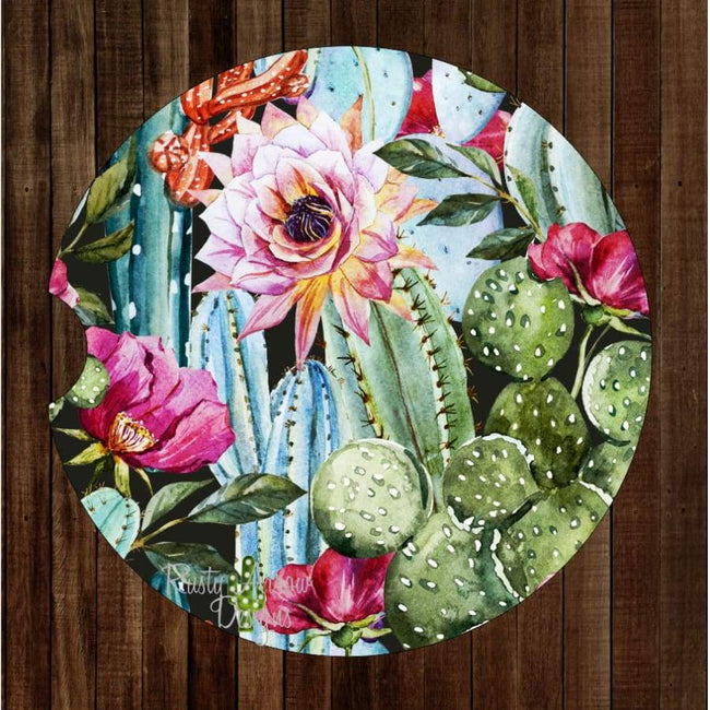 Full Cactus and Succulents Set of 2 Car Coasters - Car Coasters