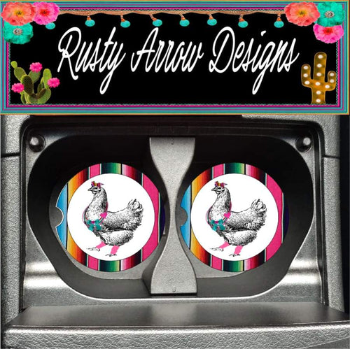 Funky Serape Chicken Set of 2 Car Coasters - Car Coasters