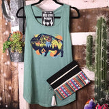 Galaxy Buffalo Scoop Neck Tank - Tee Shirt
