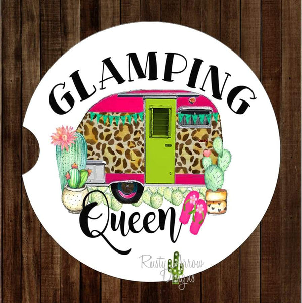 Glamping Queen Set of 2 Car Coasters - Car Coasters
