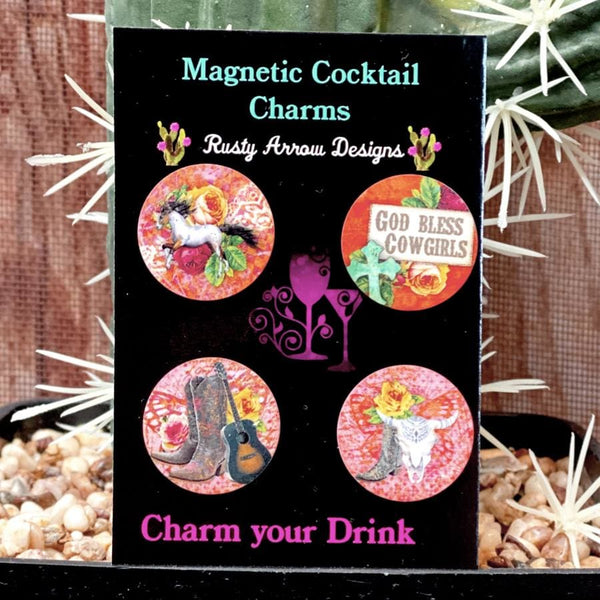 God Bless Cowgirls Magnetic Cocktail Charms