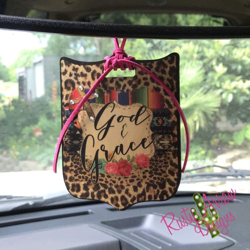God & Grace Rear View Mirror Charm Bag Tag or Christmas Ornament