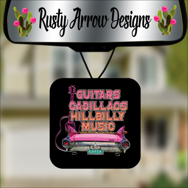 Guitars and Cadillacs Square Air Freshener - Air Freshener
