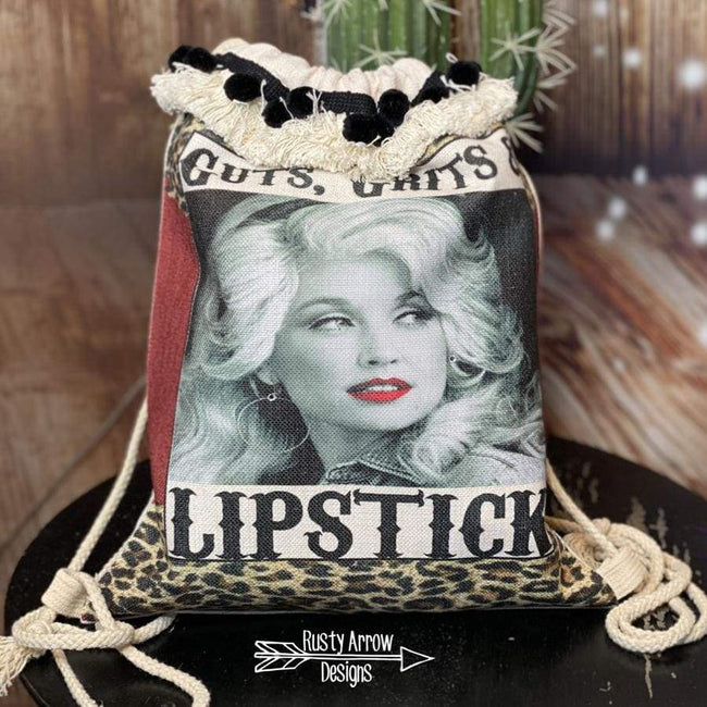 Guts Grits and Lipstick Linen Drawstring Backpack