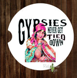 Gypsies never get Tied down Set of 2 Car Coasters - Car Coasters