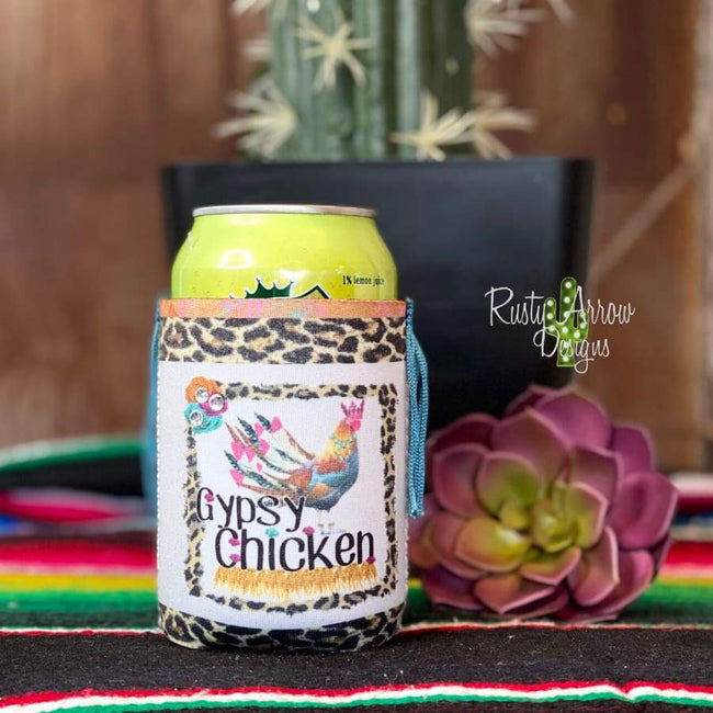 Gypsy Chicken Fringe Bottle or Can Slim Koozie - Koozie