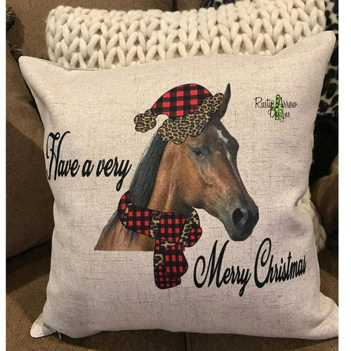 Have a Very Merry Christmas Horse w/ Buffalo plaid and Cheetah Hat Decorative Throw Pillow - Pillow