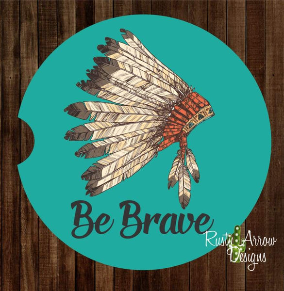 Headdress Be Brave Set of 2 Car Coasters - Car Coasters