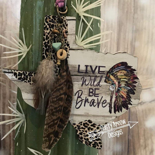 Headdress Be Brave Texas Rear View Mirror Charm Bag Tag or Christmas Ornament
